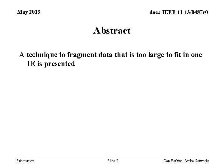May 2013 doc. : IEEE 11 -13/0487 r 0 Abstract A technique to fragment