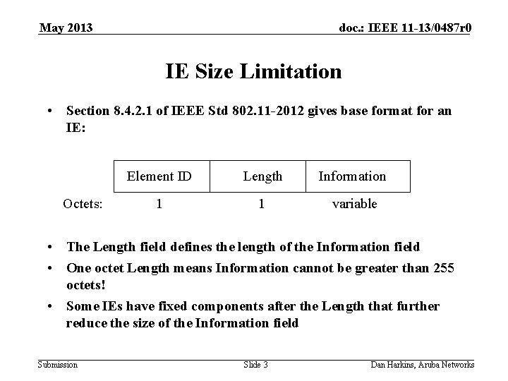 May 2013 doc. : IEEE 11 -13/0487 r 0 IE Size Limitation • Section