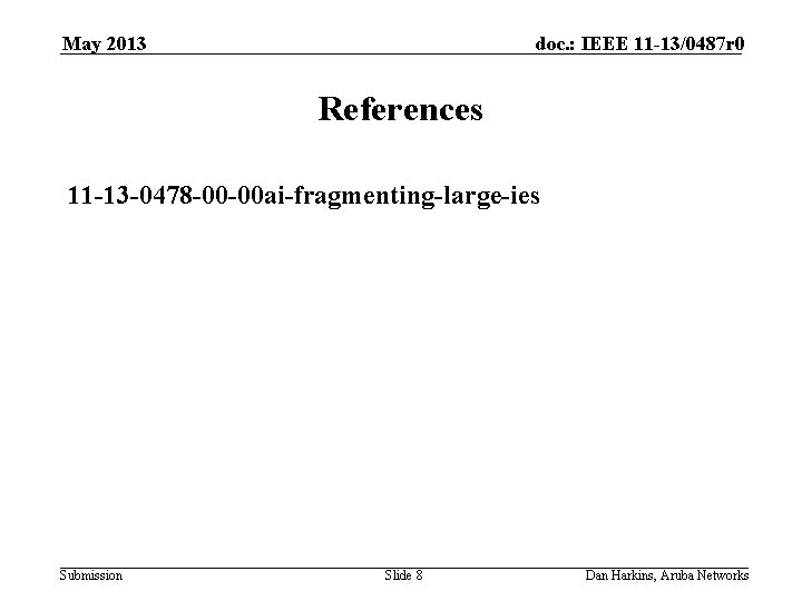 May 2013 doc. : IEEE 11 -13/0487 r 0 References 11 -13 -0478 -00