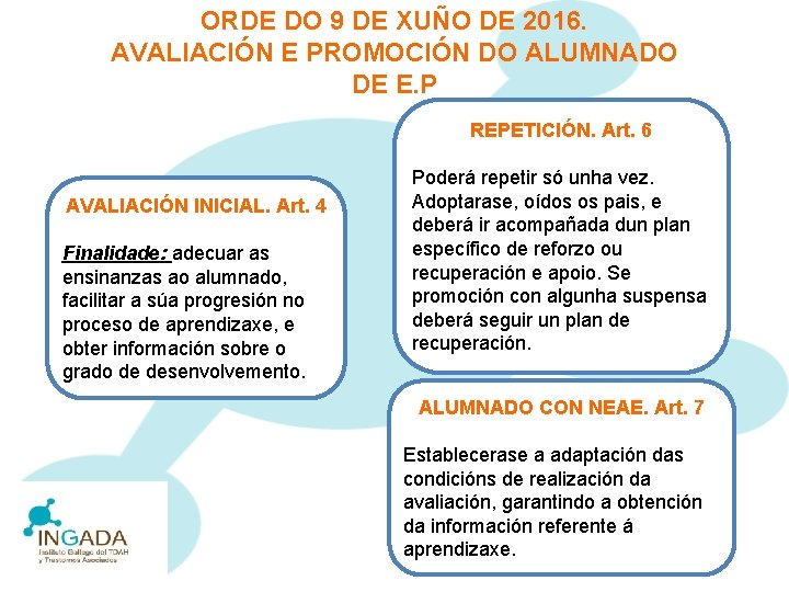 ORDE DO 9 DE XUÑO DE 2016. AVALIACIÓN E PROMOCIÓN DO ALUMNADO DE E.
