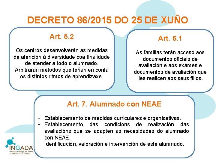 DECRETO 86/2015 DO 25 DE XUÑO Art. 5. 2 Art. 6. 1 Os centros