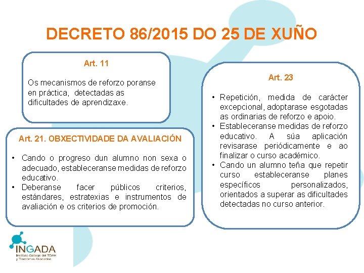 DECRETO 86/2015 DO 25 DE XUÑO Art. 11 Os mecanismos de reforzo poranse en