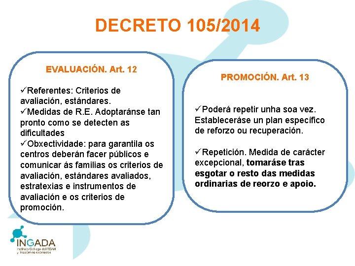 DECRETO 105/2014 EVALUACIÓN. Art. 12 üReferentes: Criterios de avaliación, estándares. üMedidas de R. E.