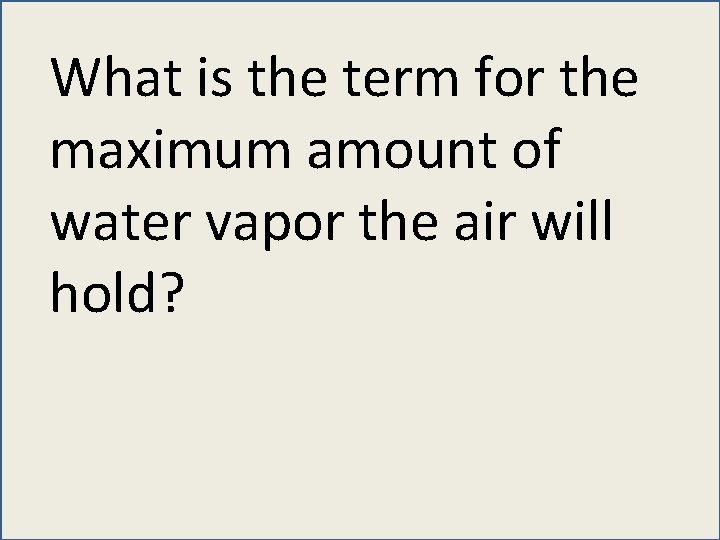 What is the term for the maximum amount of water vapor the air will