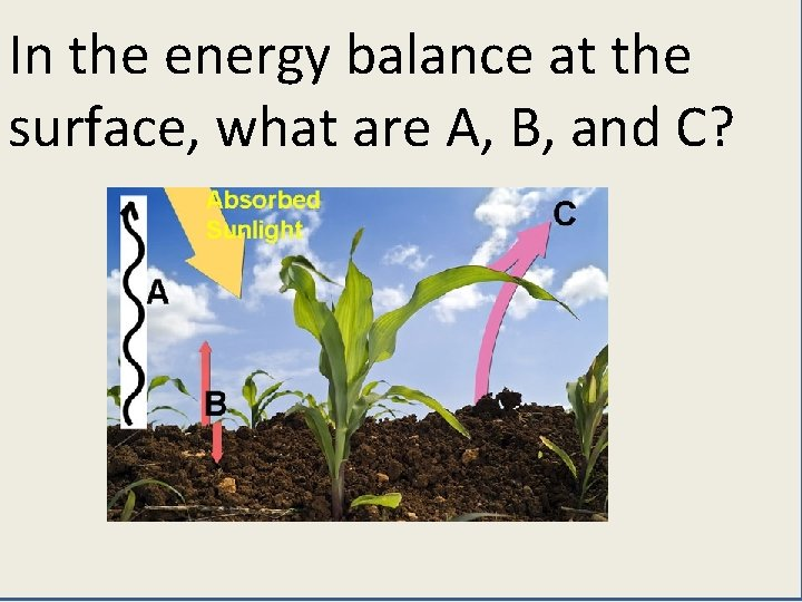 In the energy balance at the surface, what are A, B, and C?