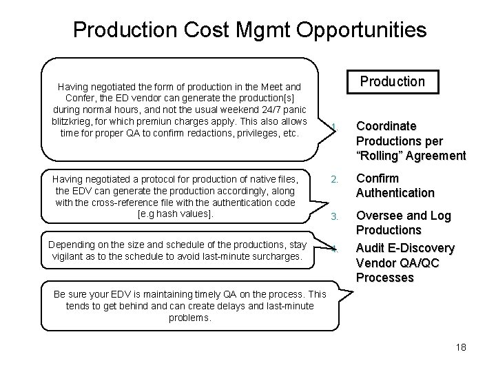Production Cost Mgmt Opportunities Having negotiated the form of production in the Meet and