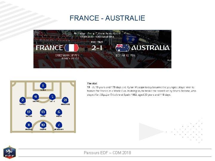 FRANCE - AUSTRALIE Parcours EDF – CDM 2018