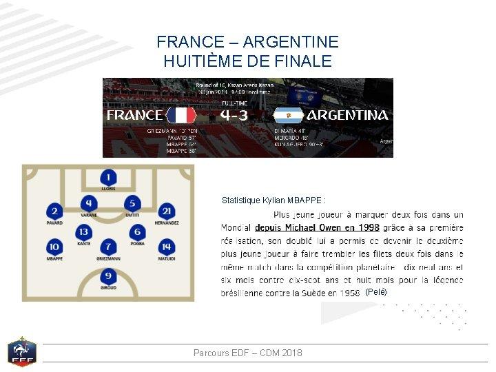 FRANCE – ARGENTINE HUITIÈME DE FINALE Statistique Kylian MBAPPE : (Pelé) Parcours EDF –
