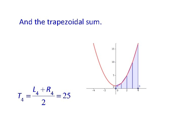 And the trapezoidal sum.