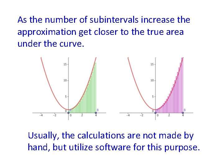 As the number of subintervals increase the approximation get closer to the true area