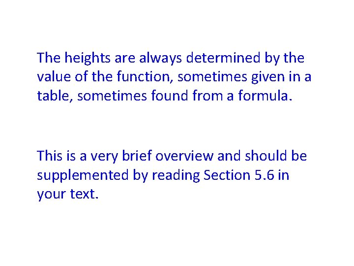 The heights are always determined by the value of the function, sometimes given in