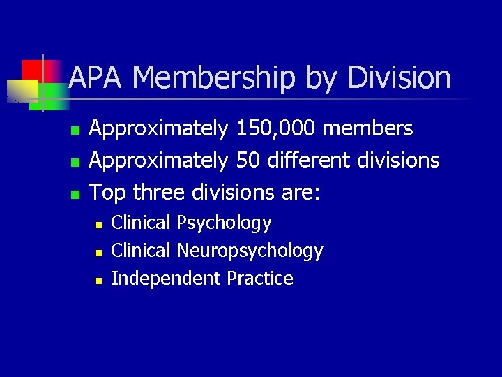 APA Membership by Division n Approximately 150, 000 members Approximately 50 different divisions Top