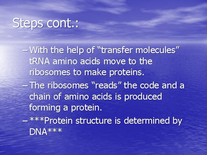 """Steps cont. : – With the help of """"transfer molecules"""" t. RNA amino acids"""