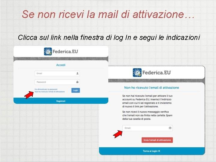 Se non ricevi la mail di attivazione… Clicca sul link nella finestra di log