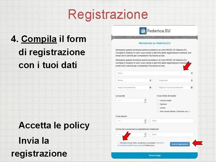 Registrazione 4. Compila il form di registrazione con i tuoi dati Accetta le policy