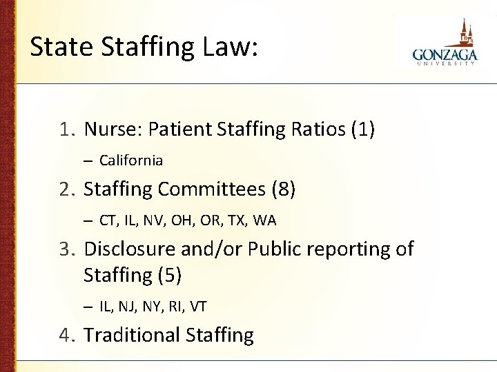 State Staffing Law: 1. Nurse: Patient Staffing Ratios (1) – California 2. Staffing Committees