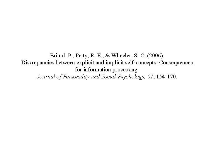 Briñol, P. , Petty, R. E. , & Wheeler, S. C. (2006). Discrepancies between