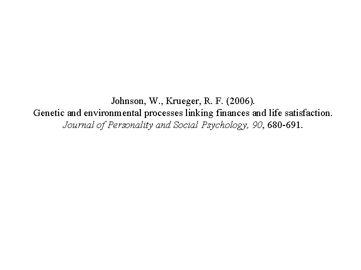 Johnson, W. , Krueger, R. F. (2006). Genetic and environmental processes linking finances and