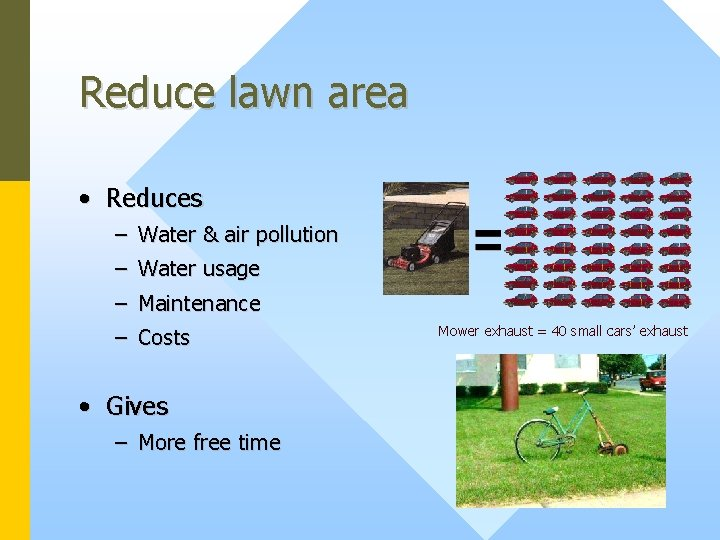 Reduce lawn area • Reduces – Water & air pollution – Water usage –
