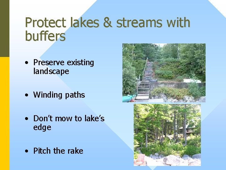 Protect lakes & streams with buffers • Preserve existing landscape • Winding paths •