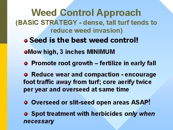 Weed Control Approach (BASIC STRATEGY - dense, tall turf tends to reduce weed invasion)