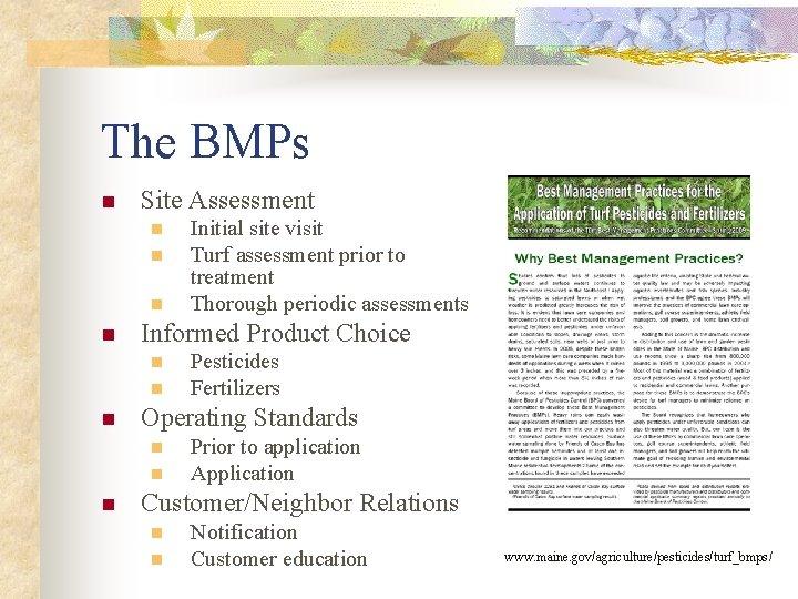 The BMPs n Site Assessment n n Informed Product Choice n n n Pesticides