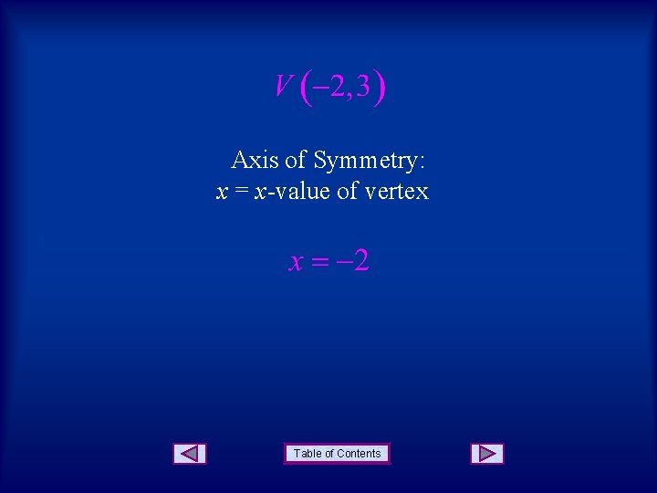 Axis of Symmetry: x = x-value of vertex Table of Contents