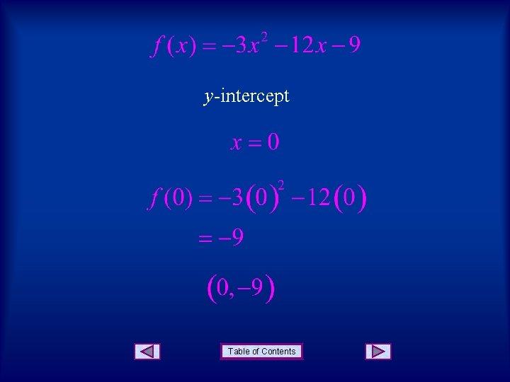 y-intercept Table of Contents