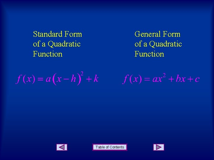 Standard Form of a Quadratic Function General Form of a Quadratic Function Table of