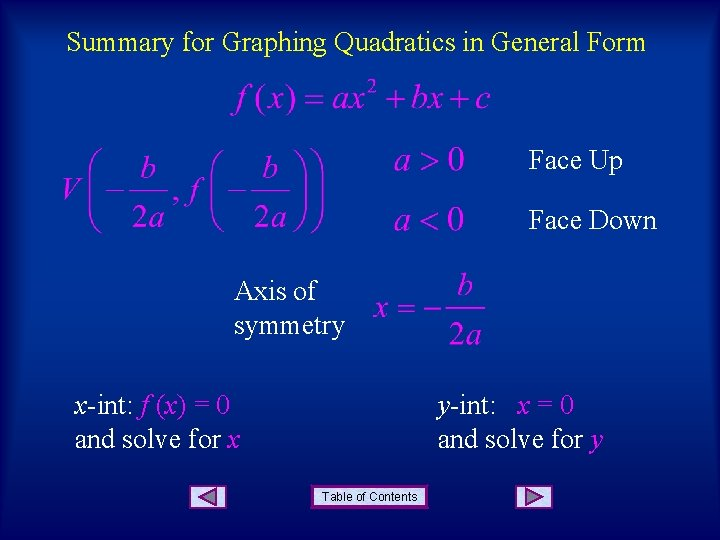 Summary for Graphing Quadratics in General Form Face Up Face Down Axis of symmetry