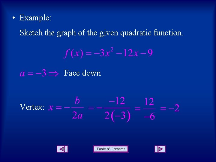• Example: Sketch the graph of the given quadratic function. Face down Vertex: