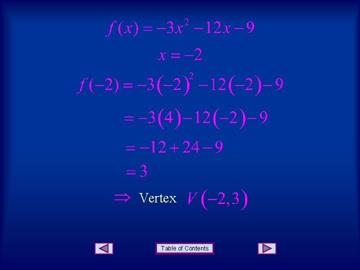 Vertex Table of Contents