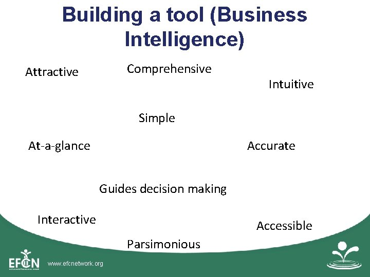 Building a tool (Business Intelligence) Comprehensive Attractive Intuitive Simple At-a-glance Accurate Guides decision making
