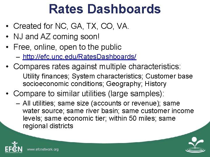 Rates Dashboards • Created for NC, GA, TX, CO, VA. • NJ and AZ