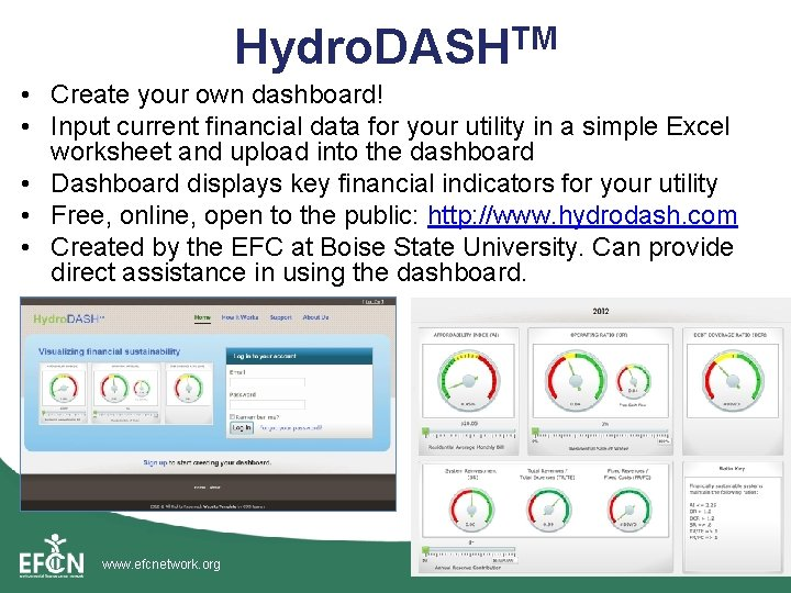 Hydro. DASHTM • Create your own dashboard! • Input current financial data for your