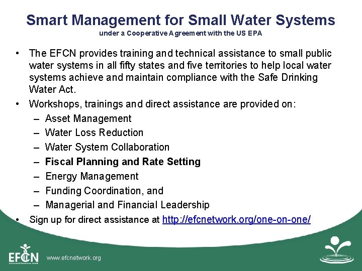 Smart Management for Small Water Systems under a Cooperative Agreement with the US EPA