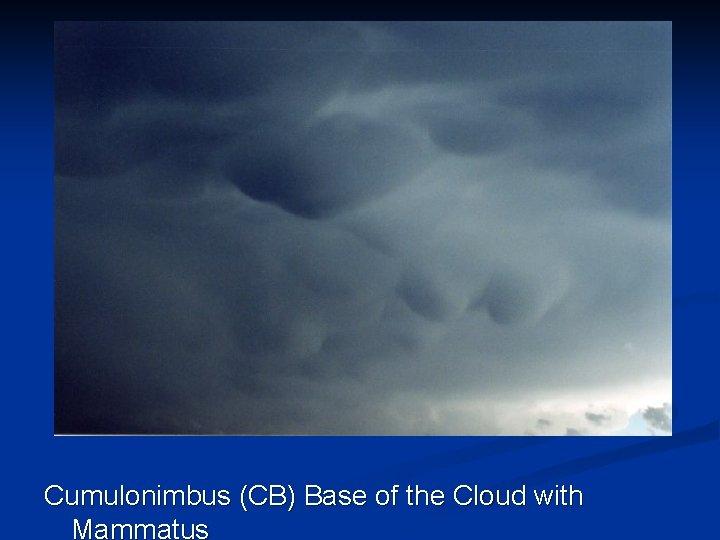 Cumulonimbus (CB) Base of the Cloud with Mammatus