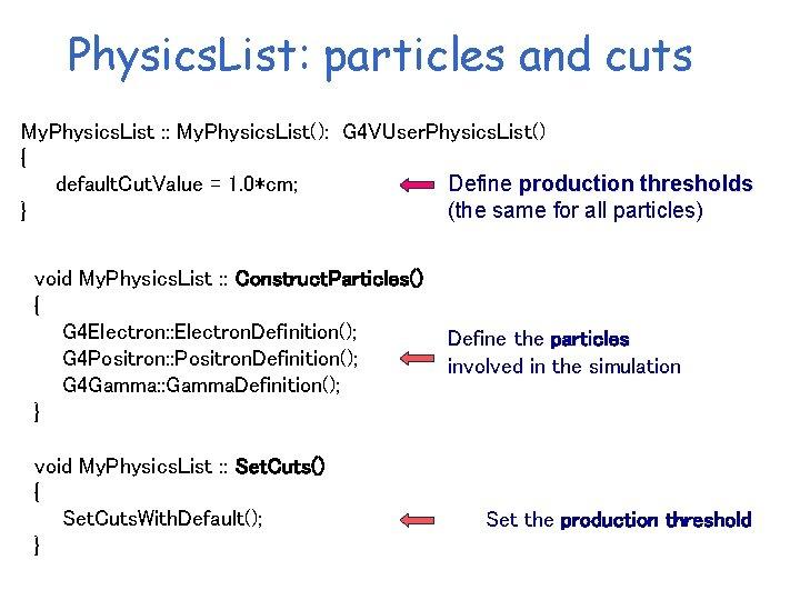 Physics. List: particles and cuts My. Physics. List : : My. Physics. List(): G