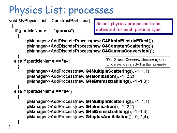 Physics List: processes void My. Physics. List : : Construct. Particles() Select physics processes