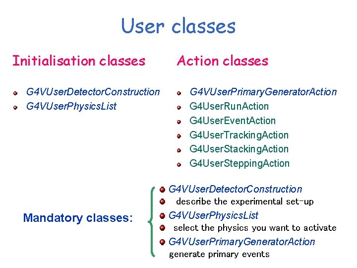 User classes Initialisation classes Action classes Invoked at the initialization G 4 VUser. Detector.