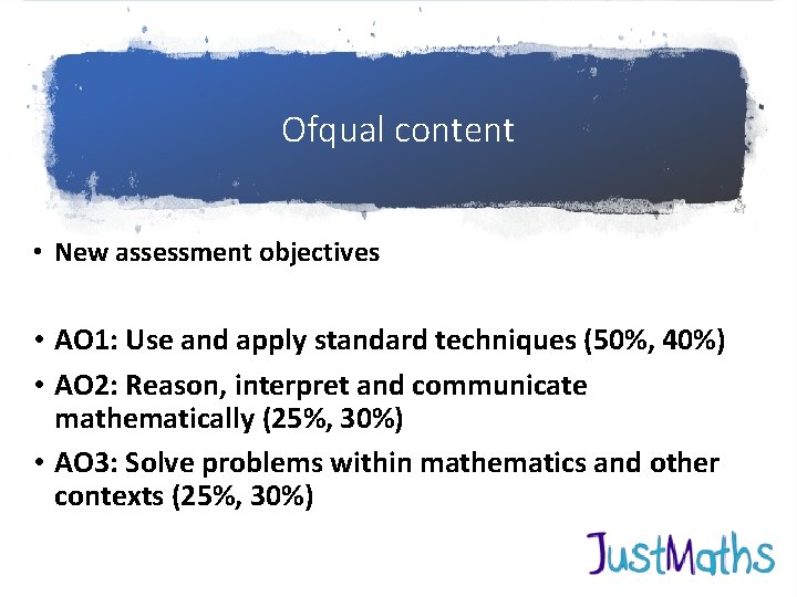 Ofqual content • New assessment objectives • AO 1: Use and apply standard techniques