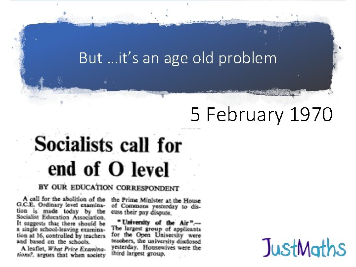 But …it's an age old problem 5 February 1970