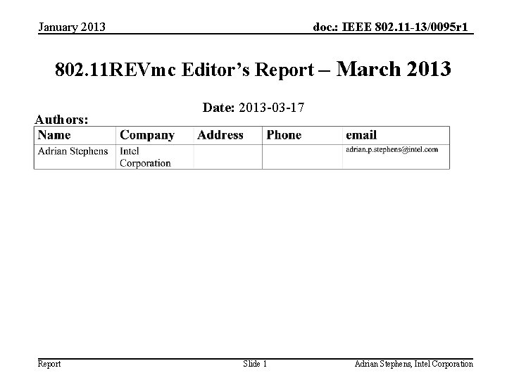 January 2013 doc. : IEEE 802. 11 -13/0095 r 1 802. 11 REVmc Editor's