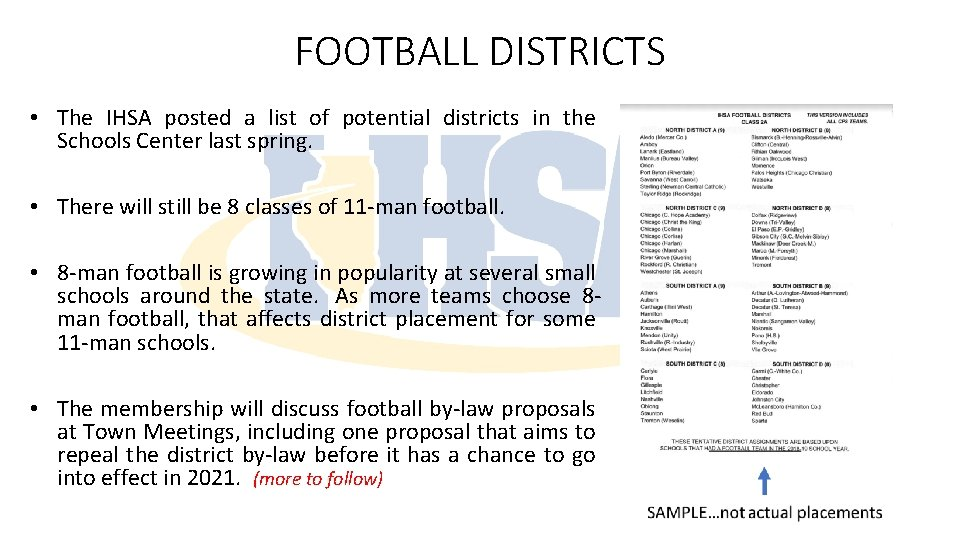 FOOTBALL DISTRICTS • The IHSA posted a list of potential districts in the Schools