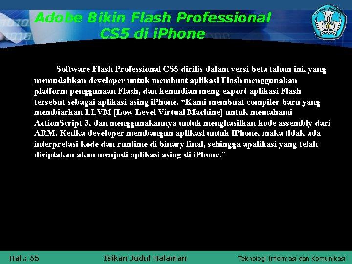 Adobe Bikin Flash Professional CS 5 di i. Phone Software Flash Professional CS 5