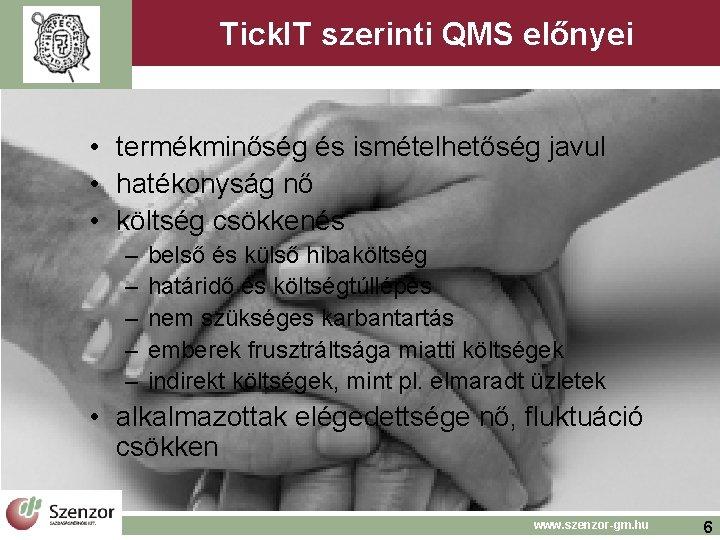 Tick. IT szerinti QMS előnyei • termékminőség és ismételhetőség javul • hatékonyság nő •