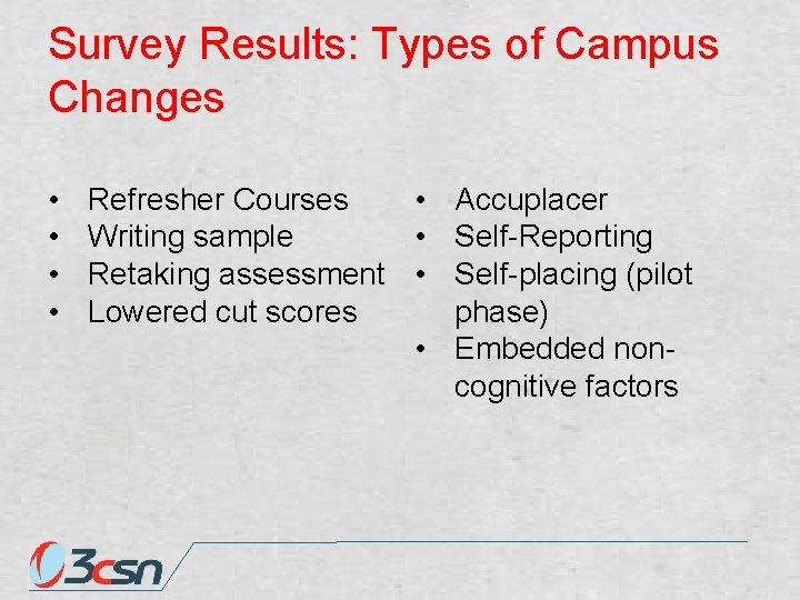 Survey Results: Types of Campus Changes • • Refresher Courses • Accuplacer Writing sample