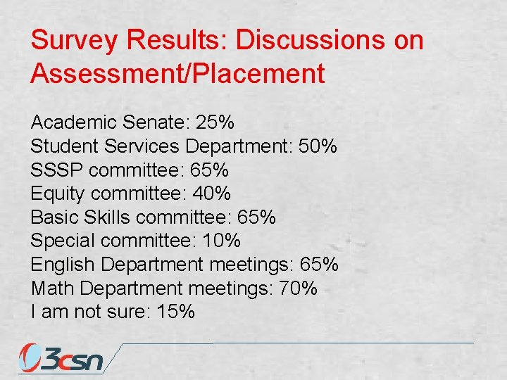 Survey Results: Discussions on Assessment/Placement Academic Senate: 25% Student Services Department: 50% SSSP committee: