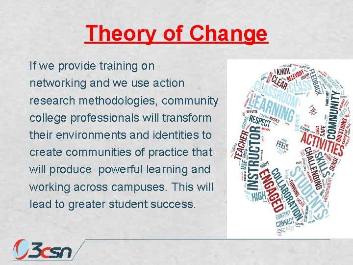Theory of Change If we provide training on networking and we use action research