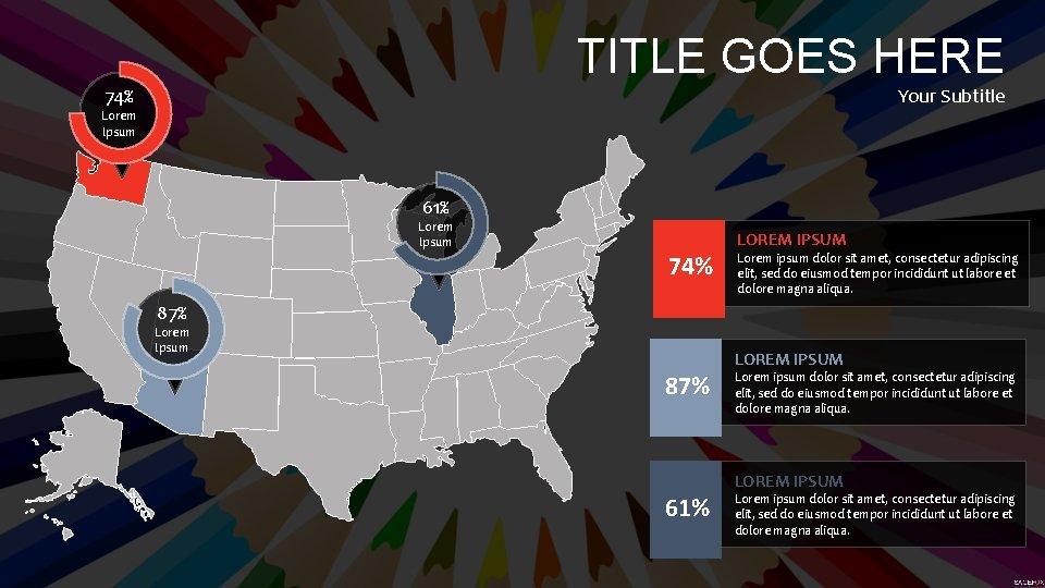TITLE GOES HERE Your Subtitle 74% Lorem Ipsum 61% Lorem Ipsum 74% LOREM IPSUM